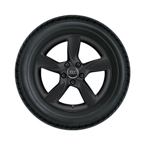 Complete winter wheel in 5-arm helica design, matt black, 6 J x 17, 205/50 R17 93H XL, right