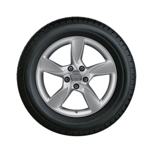 Complete winter wheel in 5-arm helica design, brilliant silver, 6 J x 17, 205/50 R17 93H XL, right