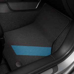 colour kit blue, decorative textile floor mats, for the front and rear, black/fog blue