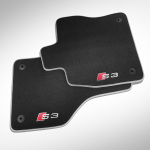 Premium textile floor mats, for the front and rear, black/silver-grey