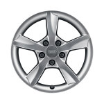 Cast aluminium winter wheel in 5-arm rotor design, brilliant silver, 6.5 J x 16