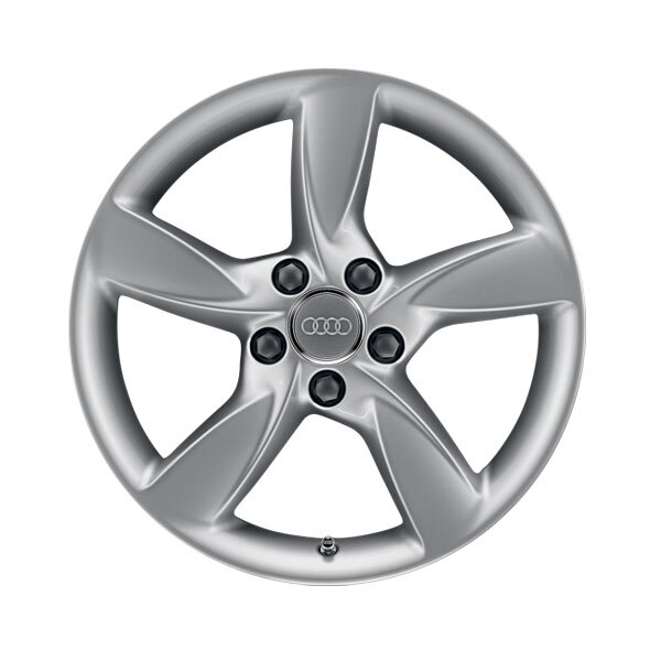 Cast aluminium winter wheel in 5-arm helica design, brilliant silver, 6.5 J x 17