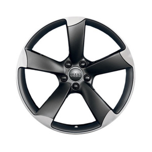 Cast aluminium wheel in 5-arm rotor design, matt black, high-gloss turned finish, 8 J x 18