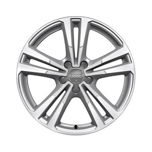 Cast aluminium wheel in 5-parallel-spoke design, brilliant silver, partly polished, 8 J x 18