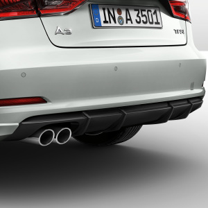 Rear diffuser, for vehicles with a twin tailpipe on the left, matt black