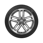 Complete summer wheel in 5-twin-spoke design, contrasting grey, partly polished, 8 J x 18, 225/40 R 18 92Y XL