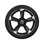 Complete summer wheel in 5-arm rotor design, matt black, high-gloss turned finish, 8 J x 18, 225/40 R 18 92Y XL