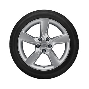 Complete winter wheel in 5-arm helica design, brilliant silver, 6.5 J x 17, 205/50 R17 93H XL, right