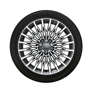 Complete winter wheel in multi-spoke star design, brilliant silver, 8 J x 18, 225/40 R18 92V XL, right