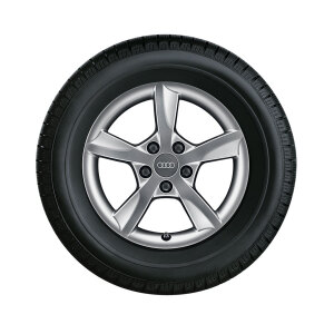 Complete winter wheel in 5-arm rotor design, brilliant silver, 6.5 J x 16, 205/55 R16 91H, left