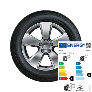 Complete winter wheel in 5-arm design, brilliant silver, 6.5 J x 17, 205/50 R17 93H XL, left