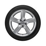 Wheel, 5-arm helica, brilliant silver, 6.5Jx17, winter tyre 205/50 R17 93H XL, left