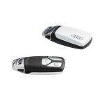Key cover glacier white, with Audi rings, for keys with chrome clip