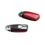 Key cover tango red, with Audi rings, for keys with chrome clip