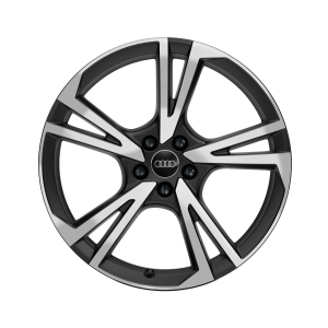 Cast aluminium wheel in 5-arm falx design, matt black, high-gloss turned finish, 9 J x 20