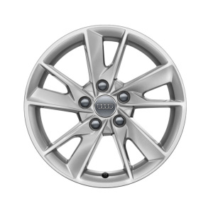 Cast aluminium winter wheel in 5-arm facet design, brilliant silver, 7 J x 16