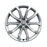 Cast aluminium wheel in 10-spoke V design, brilliant silver, 8 J x 18
