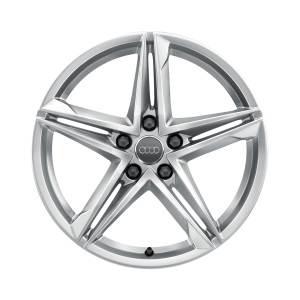 Cast aluminium wheel in 5-twin-spoke star design, galvanic silver, metallic, 8 J x 18