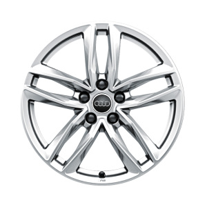 Cast aluminium wheel Audi Sport in 5-twin-spoke design with RS lettering, galvanic silver, metallic, 8 J x 18