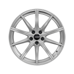 Cast aluminium winter wheel in 10-spoke star design, galvanic silver, metallic, 8 J x 19