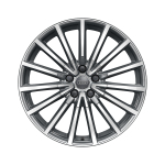 Cast aluminium wheel in multi-spoke design, contrasting grey, partly polished, 8,5 J x 19