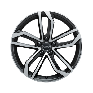 Cast aluminium wheel in 5-arm sidus design, matt black, high-gloss turned finish, 8.5 J x 19