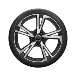 Complete summer wheel in 5-arm falx design, matt black, high-gloss turned finish, 9 J x 20, 265/30 R 20 94Y XL