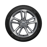 Complete summer wheel in 5-twin-spoke design, contrasting grey, partly polished, 8 J x 18, 245/40 R 18 97Y XL