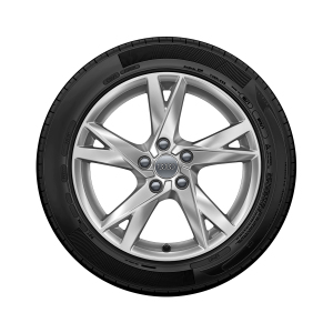 Complete summer wheel in 5-spoke Y design, brilliant silver, 7.5 J x 17, 225/50 R 17 98Y