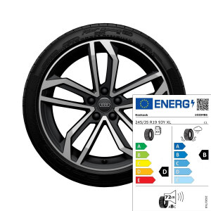 Complete summer wheel in 5-arm sidus design, matt black, high-gloss turned finish, 8.5 J x 19, 245/35 R 19 93Y XL