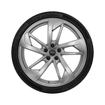 Complete winter wheel in 5-arm trapezoid design, galvanic silver, metallic, 9 J x 20, 275/30 R20 97W XL