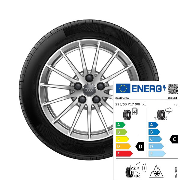 Complete winter wheel in 15-spoke design, brilliant silver, 7.5 J x 17, 225/50 R17 98H XL