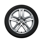 Complete winter wheel in 5-parallel-spoke design, brilliant silver, 7 J x 17, 225/50 R17 98H XL