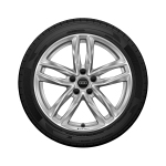 Complete winter wheel in 5-twin-spoke design, galvanic silver, metallic, 8 J x 18, 245/40 R 18 97V XL