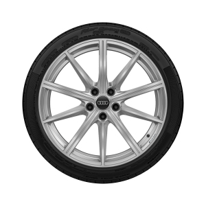 Complete winter wheel in 10-spoke star design, galvanic silver, metallic, 8 J x 19, 235/40 R19 96V XL