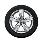 Complete winter wheel in 5-arm design, brilliant silver, 7 J x 16, 205/60 R16 92H, right
