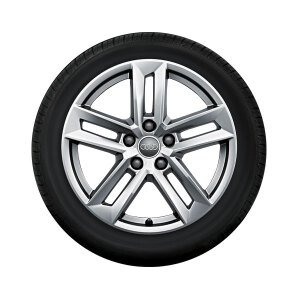 Complete winter wheel in 5-parallel-spoke design, brilliant silver, 7 J x 17, 225/50 R17 98H XL, right
