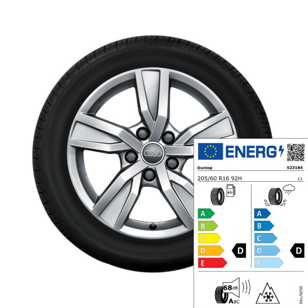 Complete winter wheel in 5-arm design, brilliant silver, 7 J x 16, 205/60 R16 92H, left