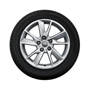 Complete winter wheel in 5-arm facet design, brilliant silver, 7 J x 16, 205/60 R16 92H, left