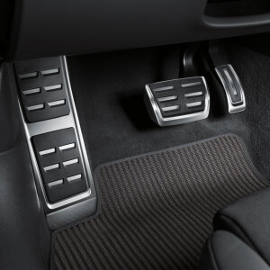 Foot rest and pedal caps in stainless steel, for vehicles with an automatic gearbox