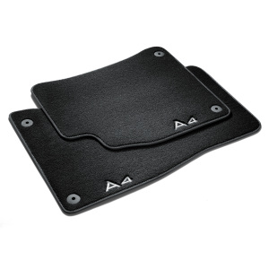 Premium textile floor mats, for the front and rear, black/steel-grey