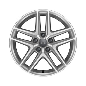 Cast aluminium winter wheel in 5-parallel-spoke V design, brilliant silver, 6.5 J x 17