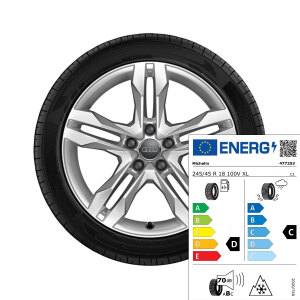 Complete winter wheel in 5-twin-spoke dynamic design, brilliant silver, 7.5 J x 18, 245/45 R18 100V XL