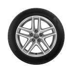Wheel, 5-parallel-spoke V, brilliant silver, 6.5Jx17, winter tyre 225/55 R17 97H, right