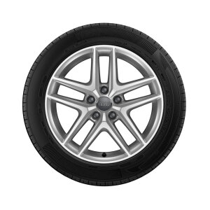 Wheel, 5-parallel-spoke V, brilliant silver, 6.5Jx17, winter tyre 225/55 R17 97H, left