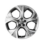 Cast aluminium wheel in 5-arm polygon design, matt silver, 7.5 J x 18