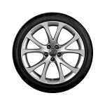 Complete summer wheel in 5-V-spoke design, brilliant silver, 7.5 J x 17, 215/40 R 17 87W XL