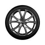 Complete summer wheel in 5-V-spoke design, dark-gloss finish, 7.5 J x 17, 215/40 R 17 87W XL
