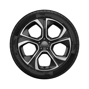 Complete summer wheel in 5-arm polygon design, matt black, high-gloss turned finish,  7.5 J x 18, 225/35 R 18 87W XL