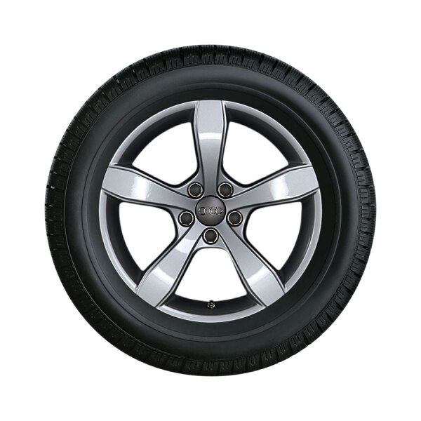 Winterkomplettrad im 5-Arm-Pin-Design, brillantsilber, 6 J x 16, 195/50 R 16 88H XL, links